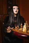 Death plays chess — Stock Photo