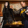 Knight plays chess with death — Foto Stock