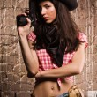Sheriff woman on wall background — Stock Photo