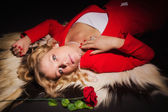 Sensual lady in red — Stock Photo