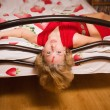 Stock Photo: Crime scene simulation: innocence victim on bed