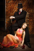 Vampire and his victim — Stock Photo