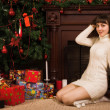 Young girl with Christmas gifts — Stockfoto