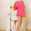 Girl doing cleaning — Stock Photo #43805755