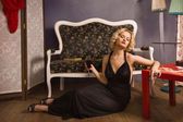 Sensual blonde in the vintage interior — Stock Photo