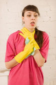 Girl coughing — Stock Photo