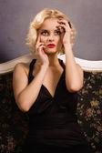 Beauty blonde in retro style — Foto Stock