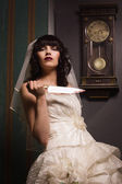 Bride with sharp knife — Stock Photo