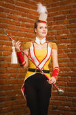 Majorettes girl with cane — Stock Photo