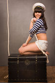Adorable woman sailor in pinup style — Stock Photo