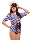 Navy pinup girl with binocular — Photo