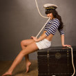 Adorable woman sailor in pinup style — Stock Photo #46514747