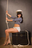 Adorable woman sailor in pinup style — Stockfoto