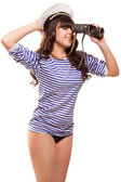 Navy pinup girl with binocular — Stock Photo