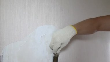 Man removing old wallpaper with the tool, timelapse — Stock Video