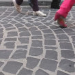 Stock Video: Rushing crowd with legs in different footware