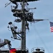 Stock Video: USflag and antennas on carrier control tower in blue sky