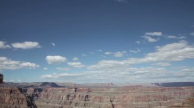 Grand canyon in sunny day with blue sky and clouds — Stock Video