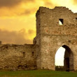 Ruined gates of cossack castle at sunset - Stock Photo