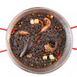 Paella negra on the pan — Stockfoto