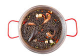 Paella negra on the pan — Stock fotografie