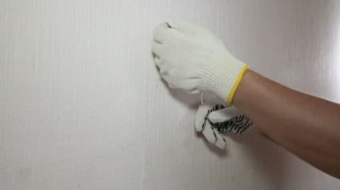 Man in glove showing how to remove old wallpaper — Stock Video