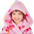 Small girl portrait in bathrobe — Stock Photo