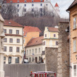 Stary Hrad - ancient castle and vintage car — Stock Photo