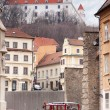 Stary Hrad - ancient castle and vintage car — Stock Photo #24618381