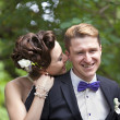 Stock Photo: Just married couple kissing