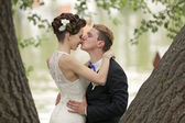 Just married couple kissing — Stock Photo