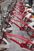 Row of bicycles for rent — 图库照片