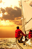 People on sailing boat in the sea — Stock Photo