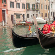 Two gondola in Venice near pier — Stock Photo