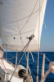 Rigging, ropes, shrouds and sail crop — Stock Photo
