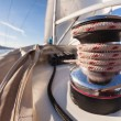 Winch with rope on sailing boat — Stock Photo #37714613