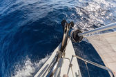 Anchor, forestay and furling drum on the yacht — Stock Photo