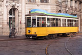 Vintage tram on the Milano street — Stock Photo