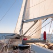 Mainsheet on the sailing boat — Stock Photo