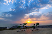 Two bicycles on Batumi beach — Stock Photo
