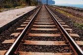 Railroad track near sea beach — Stock Photo