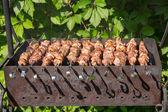 Shashlyk (kebab) asar a la parrilla de la barbacoa — Foto de Stock