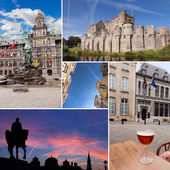 Belgium cities with beer, statues, vintage architecture — Stock Photo