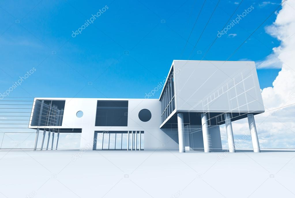 Building construction. High quality 3d render  Stock Photo #13281828