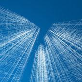 Concept wolkenkrabbers blauwdruk — Stockfoto
