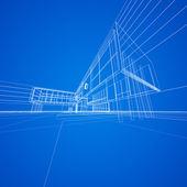 Begreppet blåkopia på blå — Stockfoto