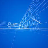Concept blueprint on blue — Photo