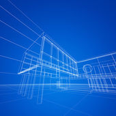Construction blueprint on blue — Stockfoto