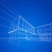 Stavební plán na modré — Stock fotografie