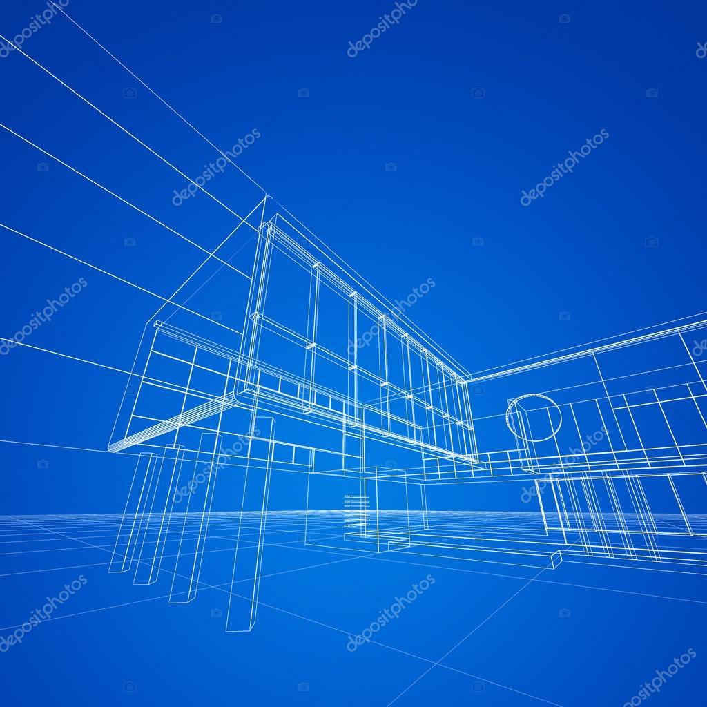 Construction Blueprint On Blue Stock Photo 1xpert